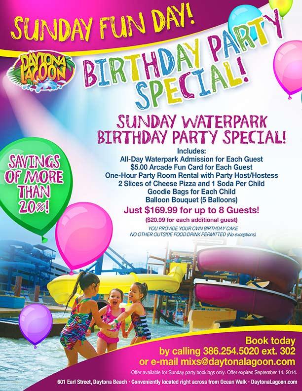 Daytona Lagoon Sunday Funday Birthday Party Special Volusia County