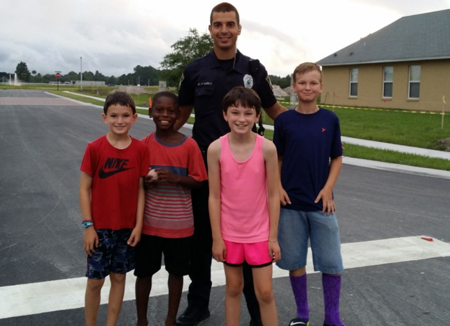 Port Orange Police Officer Plays Ball with Neighborhood Kids!