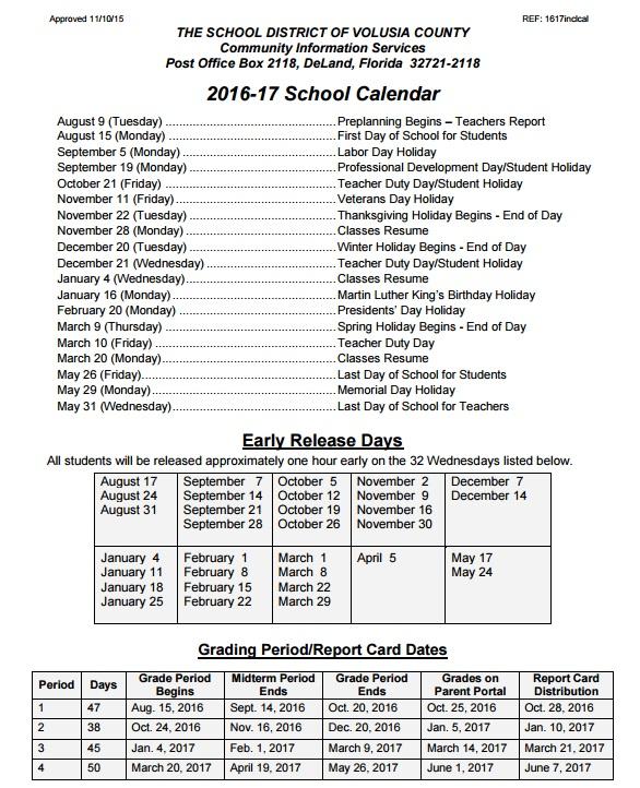 Volusia County School Calendar 2020 Volusia County Schools 2016 2017 School Calendar   Volusia County Moms