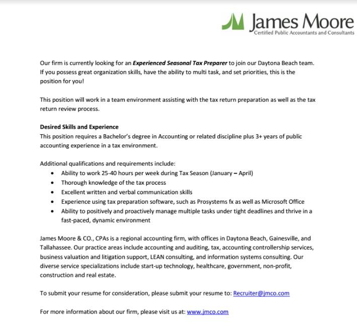 Help wanted ad: Experienced Seasonal Tax Preparer - Volusia County Moms