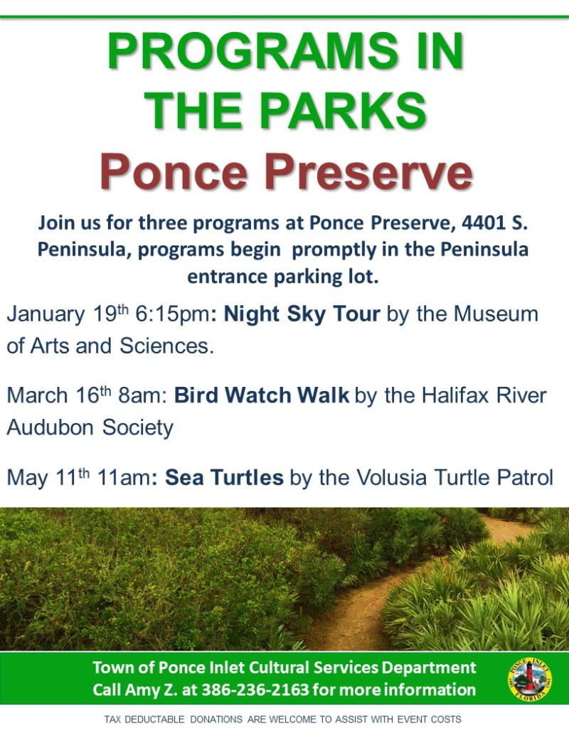 Spring 2018 Programs in the Parks