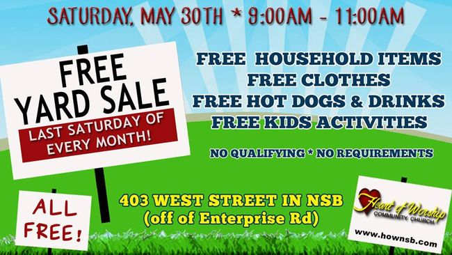 FREE Monthly Yard Sale in New Smyrna Beach (2015)
