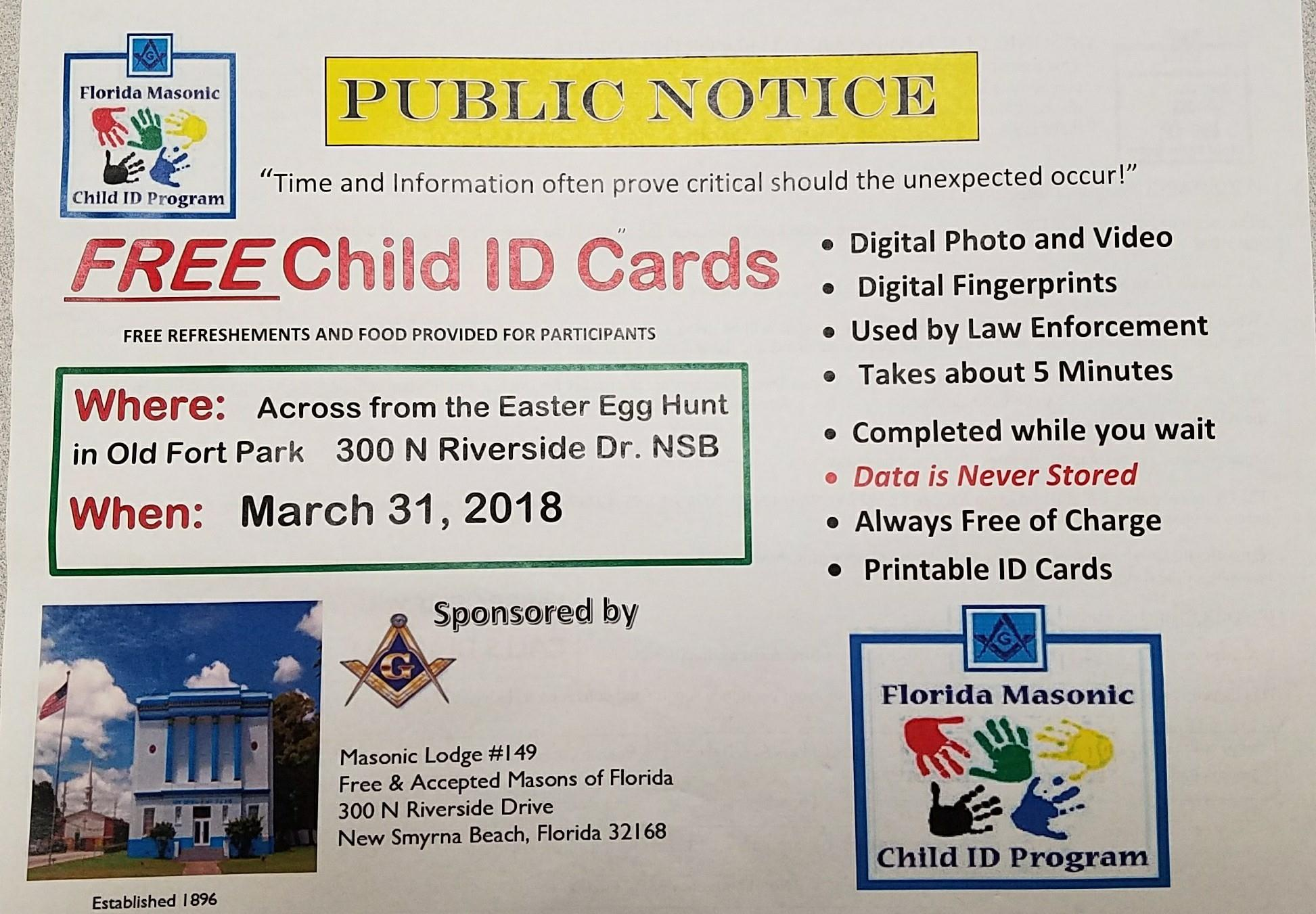picture about Free Printable Child Identification Card titled No cost kid Identity playing cards celebration inside Refreshing Smyrna Beach front - Volusia