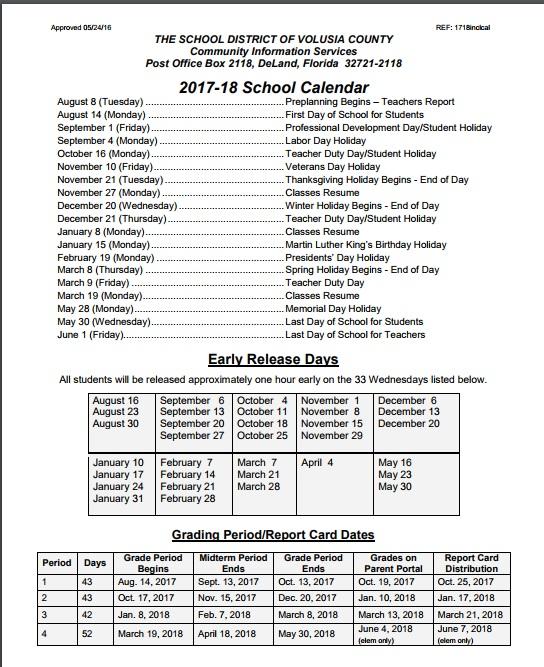 2017 2018 Voluisa County School Calendar Volusia County Moms