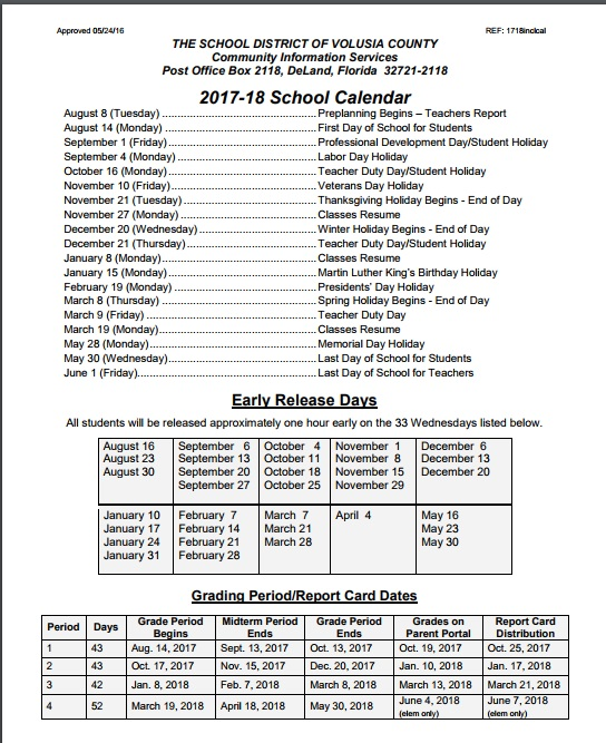 Volusia County Schools Calendar 2019 August 15, 2017   Volusia County Moms