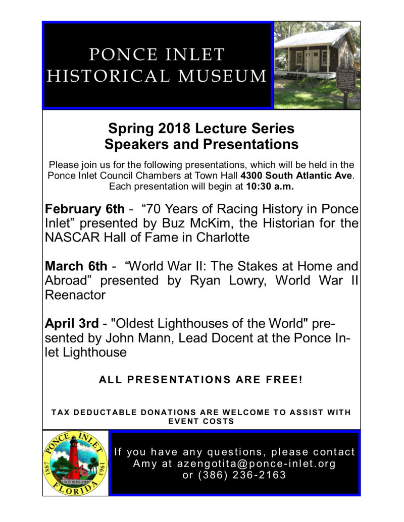 2018 Spring Lecture Series Schedule Flyer