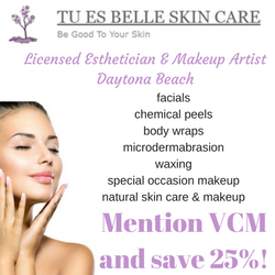 VCM discount on esthetician and skincare services in Daytona Beach
