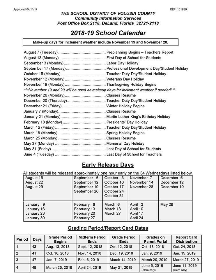Calendario 21 Day Fix.2018 2019 Volusia County Schools Calendar Volusia County Moms