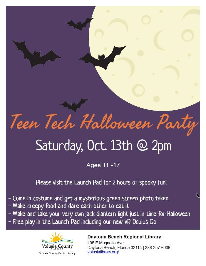 Teen Tech Halloween Party in Daytona Beach - Volusia County Moms