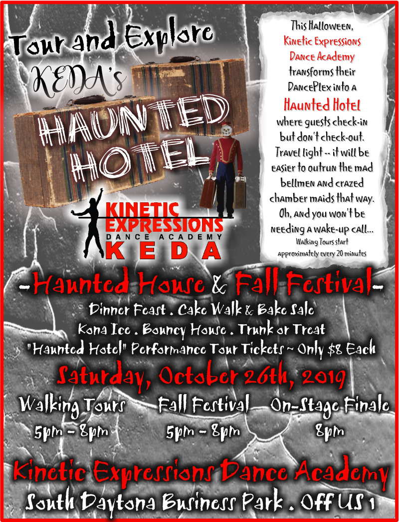Flyer  KEDA's Haunted Hotel Halloween Show 10-19