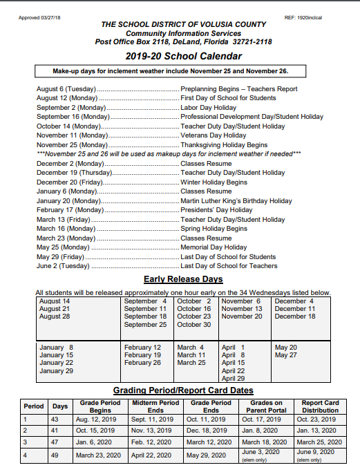 Calendario Estate 2020.Volusia County School Calendar 2019 2020 Year Volusia