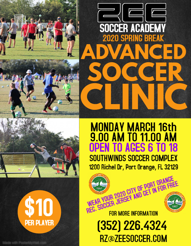 ZEE Soccer Clinic March 16 2020 - Southwinds soccer complex
