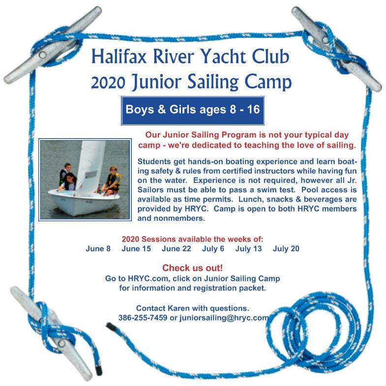2020 HRYC Jr Sailing Camp flyer corrected