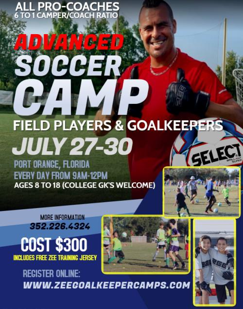 ZEE Summer 2020 advanced soccer camp - Port Orange Florida